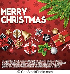Christmas background with elements on red background