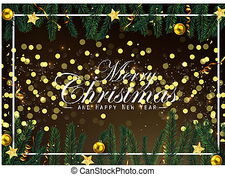 Christmas background with fir branches and golden balls