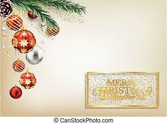 Christmas background with fir branches and red balls