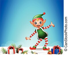 Christmas background with happy elf - Vector illustration of...