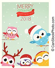 Christmas background with owl