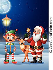 Christmas background with Santa Claus, deer and elf