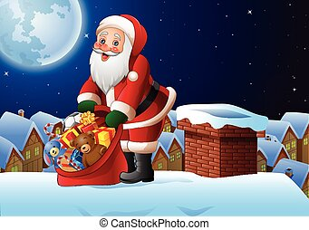 Christmas background with Santa Claus holding bag of presents on the roof top