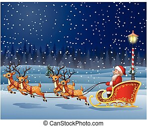 Christmas background with Santa Clause riding his reindeer sleight
