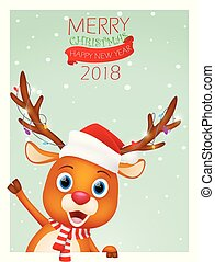 Christmas card background with cute reindeer