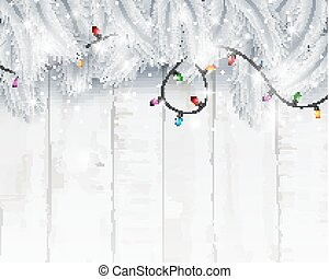 Christmas card background with fir branches and pine cones