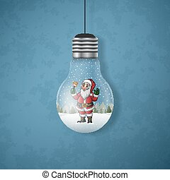 Christmas card with a Santa Claus in the hanging light bulbs