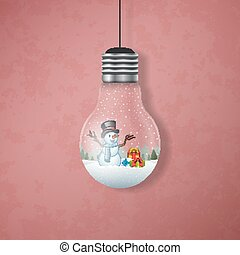 Christmas card with a snowman in the hanging light bulbs
