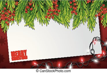 Christmas card with empty paper and fir tree branches on wooden background