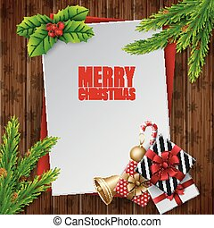 Christmas card with fir tree branches and gift boxes on wood board background
