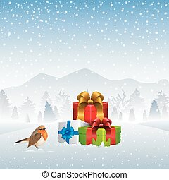 Christmas card with gift boxes and Robin bird