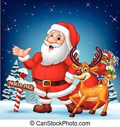 Christmas card with Santa and his reindeer