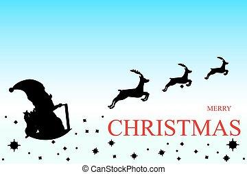 Santa Claus Driving in a Sledge.