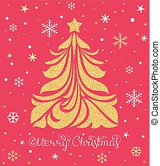 Christmas card with tree and snowflakes