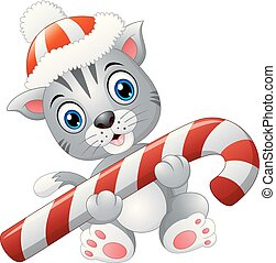 Christmas cat with candy cane