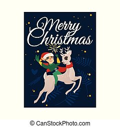 Vector illustration of Christmas congratulation card with happy elf riding on cute reindeer.