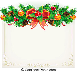Vector illustration of Christmas decorative frame with evergreen branches, red ribbon, pinecones, holly leaves, berries and red bow