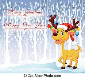 Christmas deer cartoon wearing red