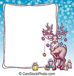 Vector illustration of Christmas deer in cartoon style