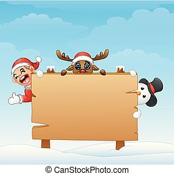 Christmas elf and snowman and reindeer with blank wooden sign