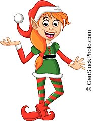 Christmas elf posing - vector illustration of Christmas elf...