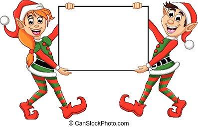 Christmas elf posing with board