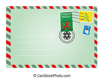 envelope with cute stamps - Vector illustration of Christmas...