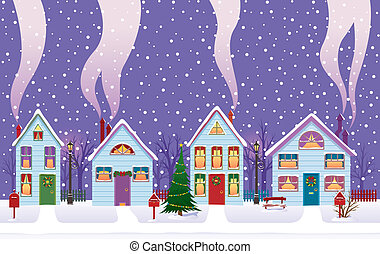 Christmas Eve in the city - Vector illustration of Christmas...