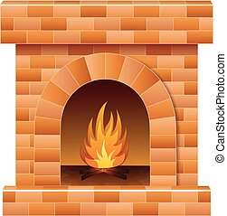 Christmas fireplace with fire and firewood - Vector...