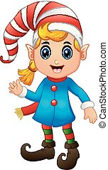 Christmas girl elf character waving hands