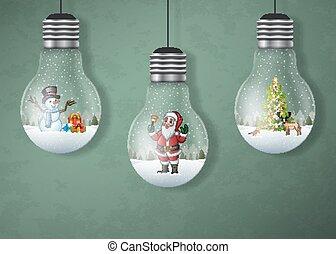 Christmas greeting card with hanging light bulbs