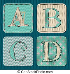 Vector Illustration of Christmas Knitted Letters ABCD