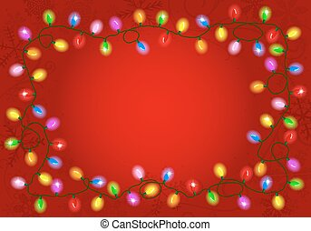 christmas lights on red background with space for text