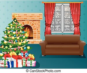 Christmas living room with fireplace, armchair, Xmas tree and presents