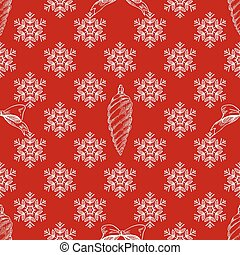 Vector illustration of Christmas pattern with white snowflakes on red background.