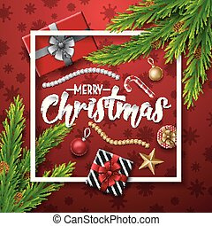 Christmas red background with fir branches and elements
