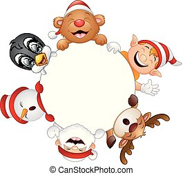 Christmas round frame with Santa, elf, snowman, reindeer, bear and penguin