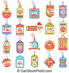 Christmas sale and promotion tag and dangler - vector ...