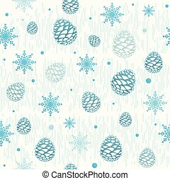 Vector illustration of christmas seamless pattern with pinecone, snowflake