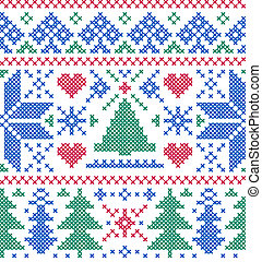 pattern with trees and snowflakes - Vector illustration of ...