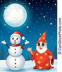 Christmas snowman with red old wizard in the winter night background