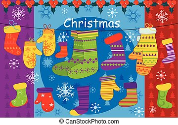 Christmas stocking hanging in snowflakes background