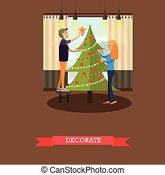 Vector illustration of christmas tree decoration design element, flat style