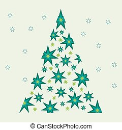 Vector illustration of Christmas tree with stars.