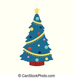 Vector illustration of Christmas tree in flat style - spruce decorated with balls and lights and star on top.