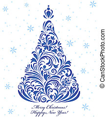 christmas tree - Vector illustration of christmas tree on...