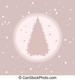Vector illustration of Christmas tree silhouette with snow.