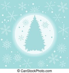 Vector illustration of Christmas tree silhouette with snowflakes.