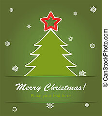 vector illustration of christmas tree with a red star on green background with snowflakes.