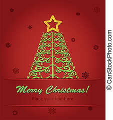 vector illustration of christmas tree with a red star on red background with snowflakes.